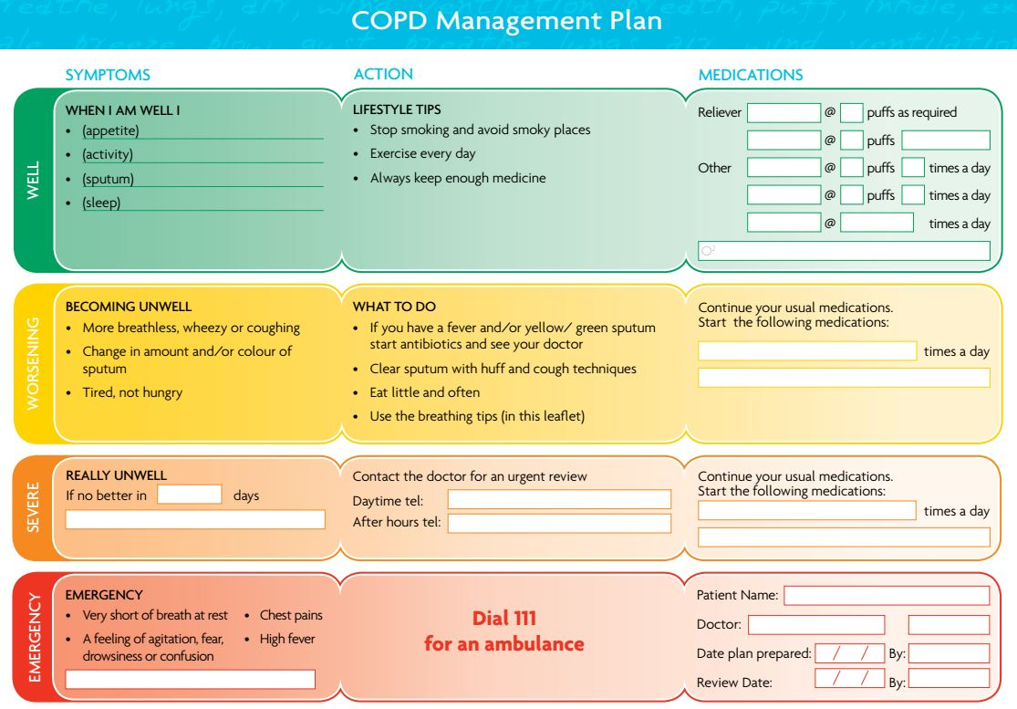 copd teaching plan Copd teaching 2148  the best way to do this is to work with your health care provider on an action plan so you know what to do to treat an exacerbation before it becomes serious sn instructed on early warning signs of an acute exacerbation: wheezing or more wheezing than what's normal for you, coughing more than usual, shortness of.